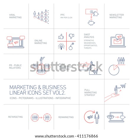 vector marketing and business icons set volume two | flat design linear illustrationand infographic  blue and red isolated on white background