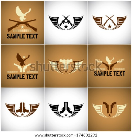 Vector marks with guns and wings - stock vector