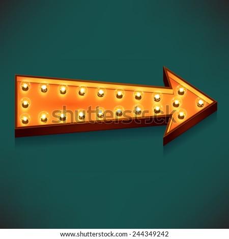 Vector marquee arrow symbol with warm yellow glowing light bulbs, dark sea green background - stock vector