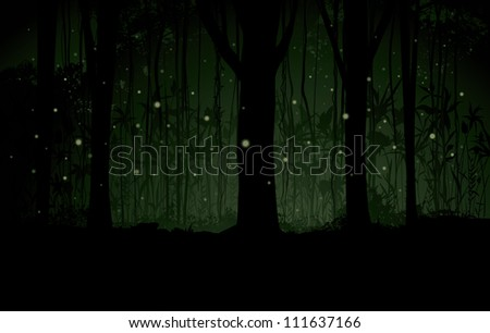 Vector Marsh or Swamp at Night Background Vector illustration of a dimly lit forest marsh or swamp background with a forest of trees, fireflies, stars, vines and botanical detailing. - stock vector