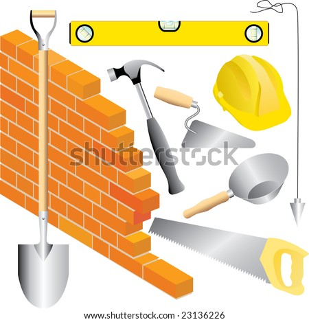 vector mason tools - stock vector