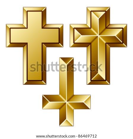 vector massive golden christian crosses - stock vector