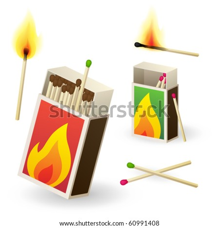 Vector matchboxes with matches - stock vector