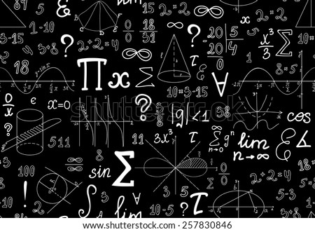 Vector mathematical seamless texture with various mathematical signs, figures and handwritten numbers - stock vector