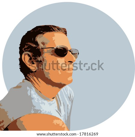Vector Mature Man With Sunglasses - stock vector
