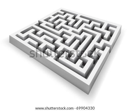 vector maze detailed illustration - stock vector