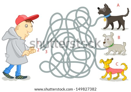 Vector Maze Game: Funny Man Try to Find Tangled Dog's Leashes. Vector Illustration for Kids - stock vector