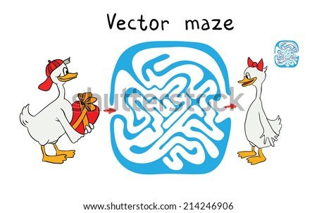 Vector Maze, Labyrinth education Game for Children with Ducks. - stock vector