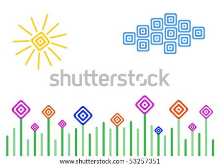 Vector meadow, sun and cloud in simple geometry style - stock vector