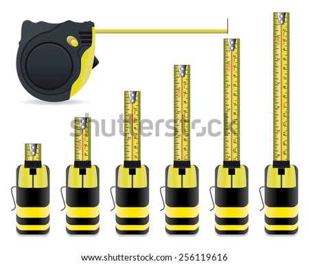 vector measure tape set - stock vector