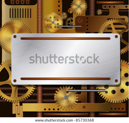 Vector mechanical background, steampunk style - stock vector