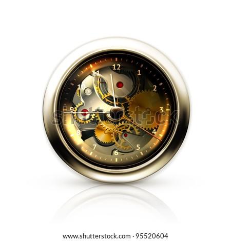 Vector mechanical clock - stock vector