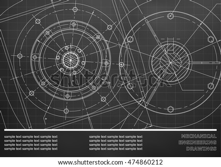Vector Mechanical engineering drawings on a black background. Cover, Background for inscription labels. Corporate Identity. Grid