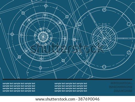 Vector Mechanical engineering drawings on a dark blue background. Cover, Background for inscription labels