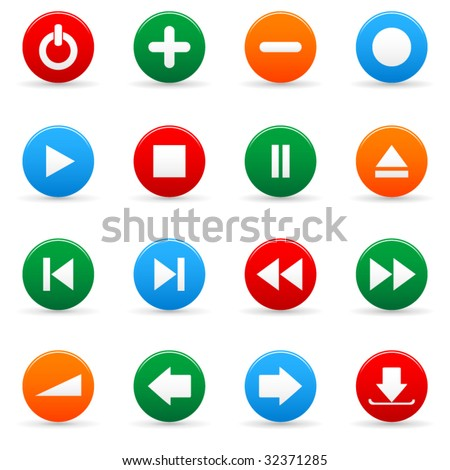 Vector media icon set for web applications - stock vector