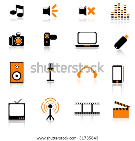 Vector media icons set - stock vector