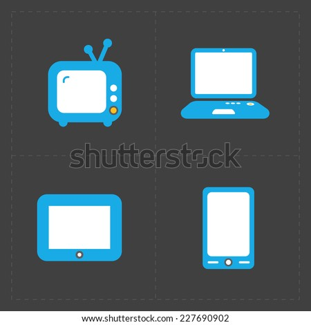 Vector Media Icons set on dark background - stock vector