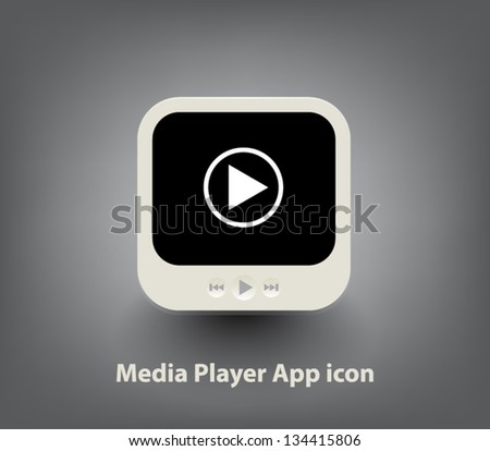 Vector media player button / icon for websites (UI) or applications (app) for smartphones or tablets - stock vector