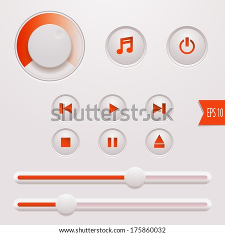 Vector Media Player Buttons. Rounded  User Interface Controls Web Elements: Buttons, Switchers, On, Off, Audio, Play, Stop, Next, Pause, Volume, Slider.  - stock vector