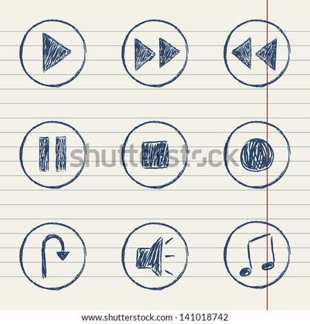 vector media player icons set on paper sheet - stock vector