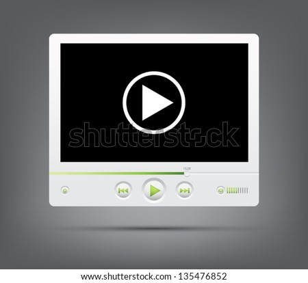 Vector media player interface for websites (UI) or applications (app) for smartphones or tablets - stock vector