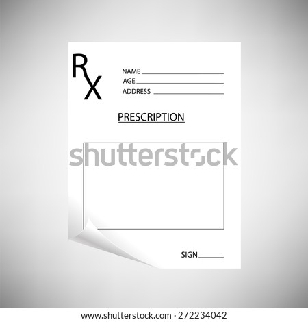Vector Medical Empty Blank Prescription on Grey Background. - stock vector