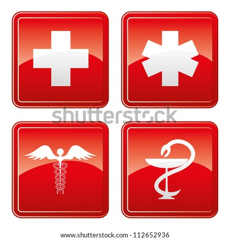 Vector. 4 medical icons. - stock vector