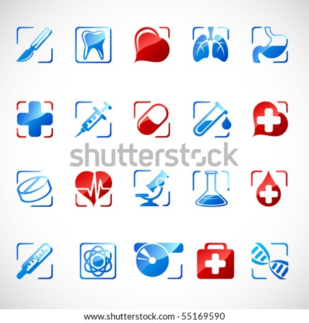 Vector medical icons. - stock vector