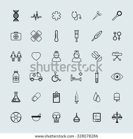 Vector Medical Icons 36 Set - stock vector