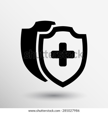 Vector Medical Shield Icon shield flat health cross medical. - stock vector