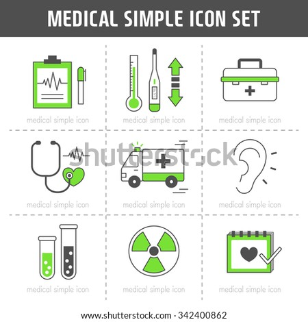 Vector medical simple icon set