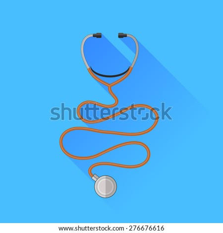 Vector Medical Stethoscope Icon Isolated on Blue Background - stock vector