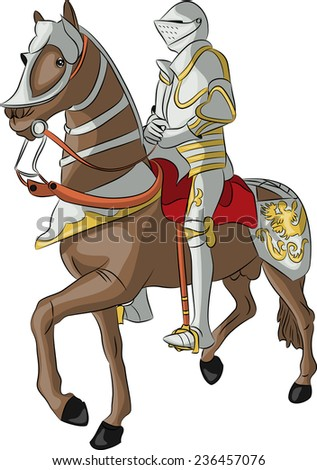 vector medieval knight in steel armor on a horse isolated on white background - stock vector