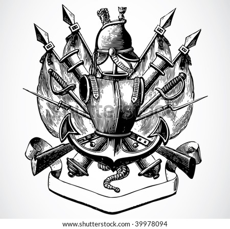Vector Medieval Military Crest - stock vector