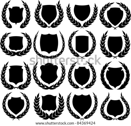Vector medieval shields and laurel wreaths collection - stock vector