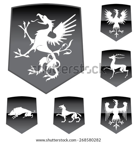Vector Medieval Shields with Animals.  - stock vector