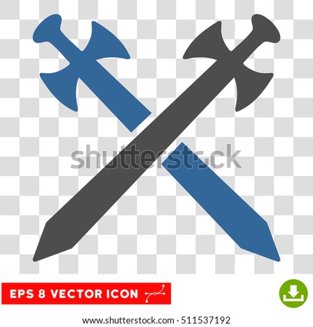 Vector Medieval Swords EPS vector icon. Illustration style is flat iconic bicolor cobalt and gray symbol on a transparent background.