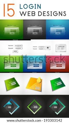 Vector mega set of login web design elements, icons and buttons for mobile app and web design - stock vector