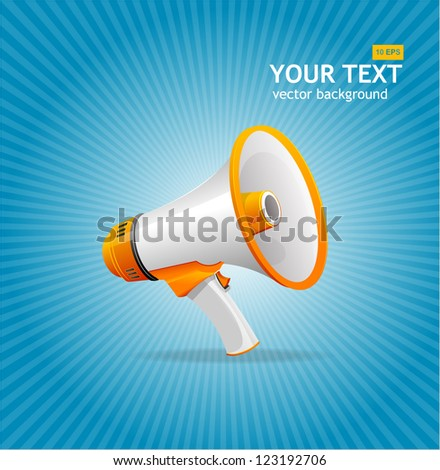 Vector megaphone blue background - stock vector