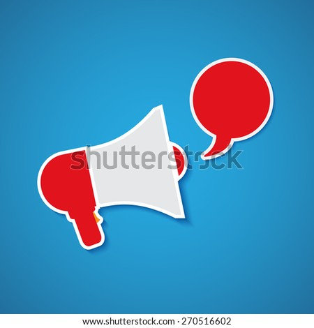 Vector megaphone with bubble speech - stock vector