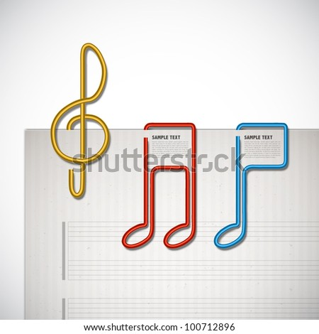 Vector Melody Shaped Paper Clip - stock vector