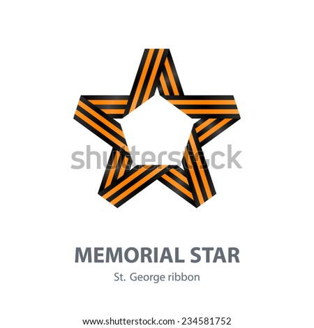 Vector Memorial Star for Victory Day made of St. George ribbon. Design element with gradients. Isolated on white background - stock vector