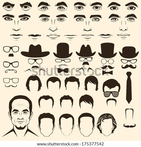 vector men  eye, mustache, glasses, hat, lips and hair, face parts, head character - stock vector