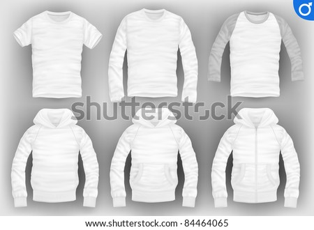 vector men's clothes pack. t-shirt, baseball, long-sleeved, hooded sweatshirt with pockets and zipper - stock vector