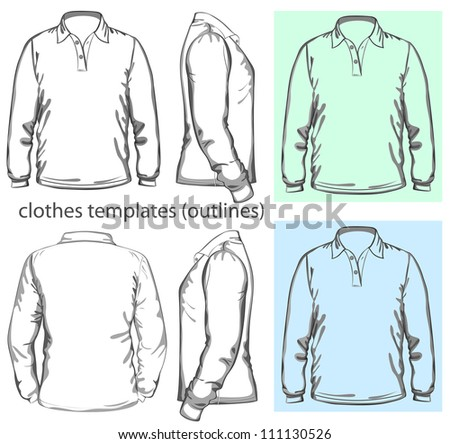 Vector. Men's polo-shirt design template (front, back and side view). Long sleeve. outline - stock vector