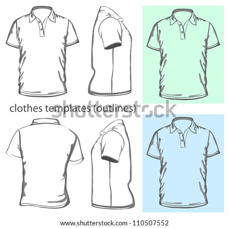 Vector. Men's polo-shirt design template (front, back and side view). Outline