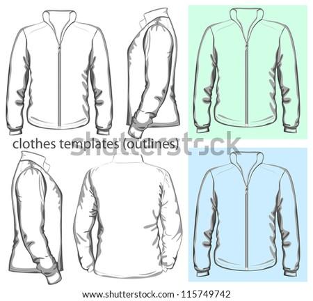 Vector. Men's sweatshirt with zipper (back, front and side view). Outlines - stock vector