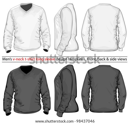 Vector. Men's V-neck long sleeve t-shirt design template (front, back and side view). White & black - stock vector