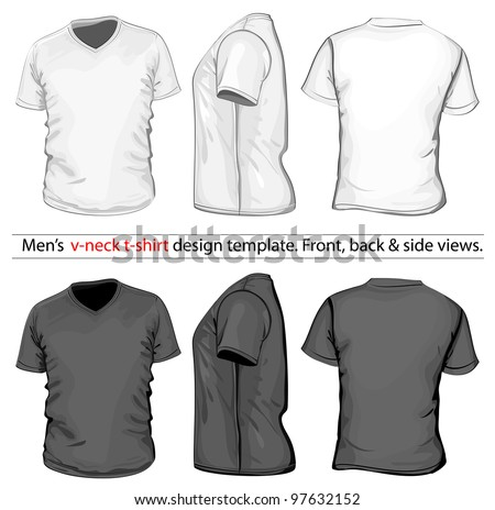 Vector. Men's V-neck t-shirt design template (front, back and side view). White & black - stock vector