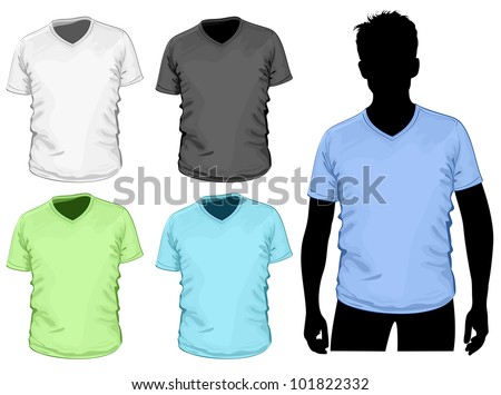 Vector. Men's v-neck t-shirt template with human body silhouette. - stock vector